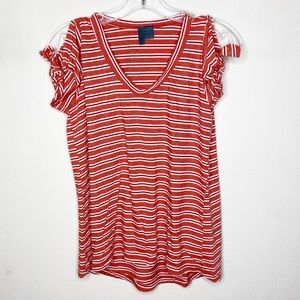 Anthro Left of Center Red Striped V Neck Top